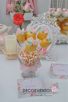 Gold marshmallow pops at a vintage baptism party! See more party planning ideas at CatchMyParty.com!