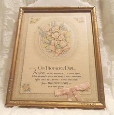 Mother's Day Verse Vintage framed Mother's Day by MrsFullersAttic