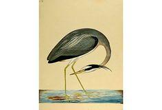 19th-C. Egret Painting