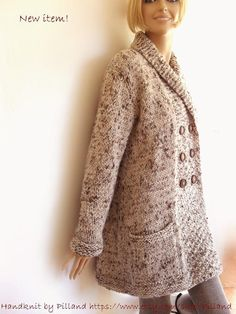 Hand knit womens coat Tweed wool Jacket Shawl collar Coat Knit Sweater cardigan oatmeal brown