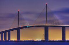 Purple Dawn at Sunshine Skyway Bridge.