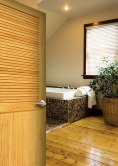 {Pine Half Louver Interior Door} #bathroomremodel #interiordoors #bathroomdoors #diy #forthehome
