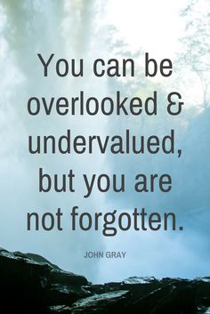 """You can be overlooked and undervalued, but you are not forgotten."" - Pastor John Gray on the School of Greatness podcast"
