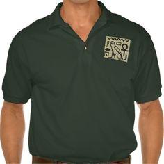 Hieroglyphs Men's Gildan Jersey Polo Shirt. Image on Polo Shirt: Original Crochet Tapestry by designer Delores Chamblin http://www.zazzle.com/hieroglyphs_mens_gildan_jersey_polo_shirt-235770664101090441?CMPN=addthis&lang=en