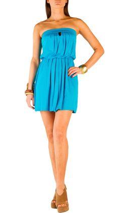 Keyhole Tube Dress - Miami Blue