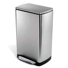 Simplehuman Wide-Step Rectangular Step Trash Can, Stainless Steel, 38 L / 10 Gal, 2015 Amazon Top Rated Trash Cans #Home