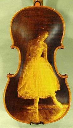 4/4 Maestro Vaisile Gliga 'Ballerina' Pyrogravure One Piece Back Violin ~ From his workshops in Reghin, Romania, master violin maker Vasile Gliga crafts high quality violins and other stringed instruments in an ancient Romanian family tradition, which utilizes sophisticated and time-tested finishing techniques along with modern tools. Such beauty!