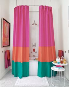 Love this.  Going to do it!  Color-Block Shower Curtain (HOW-TO):  Color blocking isn't just for shift dresses or paintings anymore. This spectacular linen shower curtain is made by stitching together three fabrics in rich tones; ours is an extra-long 106-inch curtain, but the same look could be achieved with the average 72-inch curtain.