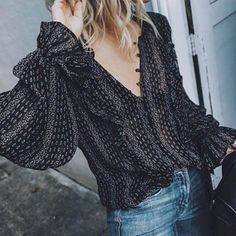 2019 Fashion Women Blouses Shirts V-Neck Long Balloon Sleeve Chiffon Translucent Shirts Black Plus Size Sexy Ladies Clothes, XXL Long Sleeve Tops, Long Sleeve Shirts, Fashion Vestidos, Fashion Dresses, Off Shoulder Shirt, Pattern Fashion, Blouses For Women, Ideias Fashion, Trends
