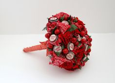 Cherry cherry pop pop wedding bouquet by Floricultcha