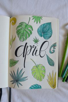 Bujo Addicts of the world, April's here and this only means one thing: a brand new bujo layout. Let's set up my tropical leaves bullet journal together! Bullet Journal Leaves, Bullet Journal Title Page, Bullet Journal August, Bullet Journal Set Up, Bullet Journal Ideas Pages, Tropical Art, Tropical Leaves, Bujo, Drawing Quotes