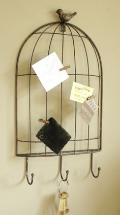 Birdcage Wall memo board with Hooks - I love that! bird cages are so a secret garden!
