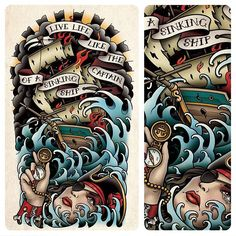 This is a half sleeve tattoo I designed for Andrew Banks. Half Sleeve Tattoos Traditional, Traditional Tattoo Flash, Life Tattoos, Body Art Tattoos, Traditional Lighthouse Tattoo, Nautical Tattoo Sleeve, Pin Up Girl Tattoo, Anker Tattoo, Old School Tattoo Designs