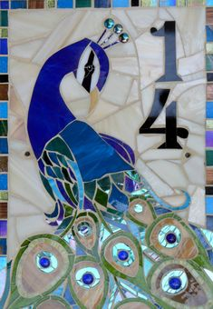 Custom-made mosaic house number plaque