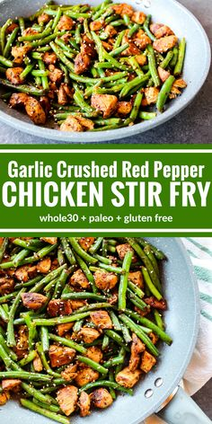 This spicy Garlic Crushed Red Pepper Chicken Stir Fry is so simple and fast! It's a satisfying dinner with a kick that cooks all in one pan! dinner whole 30 Garlic Crushed Red Pepper Chicken Stir Fry Whole Foods, Paleo Whole 30, Whole Food Recipes, Cooking Recipes, Whole 30 Meals, Whole 30 Easy Recipes, While 30 Recipes, Whole 30 Crockpot Recipes, Whole 30 Chicken Recipes