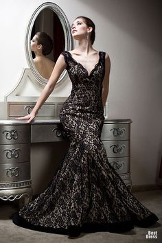Stunning black lace, fit flare, gorgeous wedding gown. Why didn't I find this before I got my dress? Love this so much. Bien Savvy Evening Gowns glamour featured fashion Evening Gowns Bien Savvy