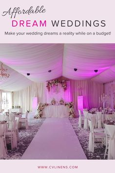 Dream wedding decorations afforable on a budget by CV Linens! Plan your dream wedding ceremony and reception with our ceiling draping decorations, chair sashes, tablecloths, table skirts, backdrop draping and more! Don't settle for less than your ideal wedding and achieve your wedding inspiration goals with wedding decorations on a budget! #weddingdecorations #weddingdecor #weddingdecorationsonabudget #weddingdecorationselegant Blush Wedding Theme, All White Wedding, Blush Pink Weddings, Spring Wedding, Dream Wedding, Wedding Reception Decorations On A Budget, Pink Wedding Receptions, Wedding Ceremony, Rose Gold Color Palette