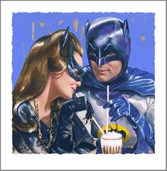 Batman and Catwoman (Julie Newmar posted this on Twitter along with her tribute to Adam West)