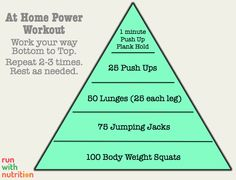 At Home Power Workout. Get up 20minutes earlier and fit 1 set in before work!