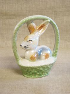 Easter Bunny , Ceramic Bunny , Luster Ware , Bunny in Basket , Bunny Figurine , Easter Basket , Easter Decoration , Easter Decor , Rabbit