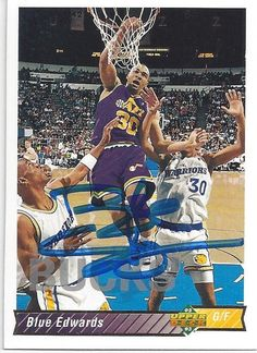 """Excited to share this item from my shop: Theodore """"Blue"""" Edwards AUTOGRAPHED Basketball Trading Card Upper Deck Utah Jazz Miami Heat Basketball, Dana Andrews, Cyndi Lauper, Utah Jazz, Vintage Sheets, Super Sport, Upper Deck, Cool Items, National Geographic"""