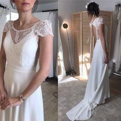 """New design""""Frances""""has the most stunning back. The dress is made of silk crepe and French Calais Lace. The skirt flows in the loveliest way. Bohemian Style Wedding Dresses, Silk Crepe, News Design, Lace, Skirts, French, Fashion, Moda, Skirt"""
