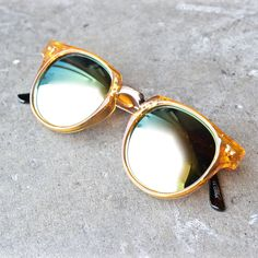 e50d41f194 spitfire teddy boy 2 round sunglasses in yellow + gold mirror