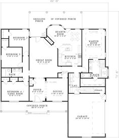 Floor plans on pinterest home plans house plans and for Simple roofline house plans