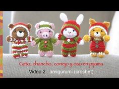 Oso, gato, chancho y conejo bebés en pijamas esperando Navidad (crochet-amigurumi) Parte 2 - YouTube