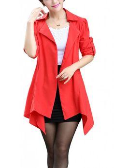 XQN Women's Spring Thin Distinctive Slim Irregular Hem Coat at Amazon Women's Coats Shop