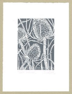 grey Teasel - Hand cut Linocut Print Charcoal grey Teasel - Hand cut Linocut PrintPrint Print or printing commonly refers to: Print or printing may also refer to: Linoleum Block Printing, Linoprint, Encaustic Painting, Silk Painting, Linocut Prints, Woodcut Art, Chalk Pastels, Wood Engraving, Gravure