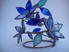 3-D Stained Glass Candle Holder with blue flowers by R2P2Designs