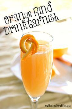 Easy to create orange rind drink garnishes - make your beverages pretty!