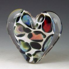Snow Leopard Heart  1 bead borosilicate/boro by redsidedesigns, $35.00