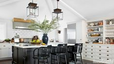 modern home design with white kitchen lighting Home Design, Design Ideas, Design Trends, Design Inspiration, Long Room, Global Home, Kitchen Lighting Fixtures, Light Fixtures, Light Fittings