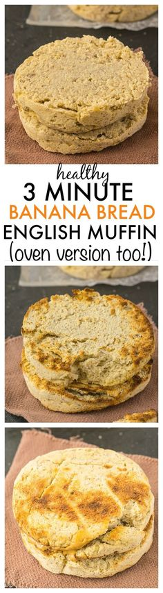 3 Minute Microwave Banana Bread English Muffin- Filling and dense, this English Muffin recipe takes just three minutes and is SO healthy- Only FOUR ingredients and no butter or oil! {vegan, gluten free, paleo options}- thebigmansworld.com