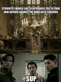 Supernateral/Harry Potter. The boys as DATDA teachers. Perfect!! Sup.
