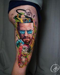Breaking Bad Tattoo, Tatuaje Breaking Bad, Neotraditionelles Tattoo, Comic Tattoo, Dope Tattoos, Tatoos, World Famous Tattoo Ink, Tattoo Master, Tattoo Spirit