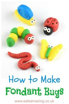 to make easy fondant bugs for cake decorating and DIY cupcake toppers - with step by step photos and instructionsHow to make easy fondant bugs for cake decorating and DIY cupcake toppers - with step by step photos and instructions Fondant Cupcakes, Bug Cupcakes, Fondant Icing, Fondant Rose, Fondant Baby, Chocolate Fondant, Modeling Chocolate, Fondant Flowers, Valentine Cupcakes