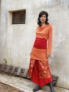 Womens clothingWomens tunicTerracotta Cowl neck Tunic by SHIHAR