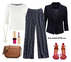 Look working con pantalón estampado by visionestilo on Polyvore featuring moda, OPUS Fashion, Minimum, Lucky Brand, Schutz, MICHAEL Michael Kors, Minor Obsessions, Yves Saint Laurent, oficina and Lunares