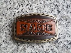 Belt Buckle with Leather Insert stamped with Initials. $15.00, via Etsy.