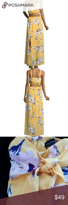 Yellow floral 2 piece maxi dress Nwot.  See last pic for product description. City Triangles Dresses Maxi