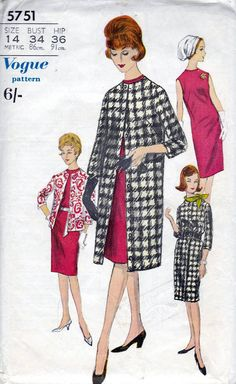 60s Vogue sewing patterns 5751, Bust 34 inches - vogue dress and jacket sewing pattern