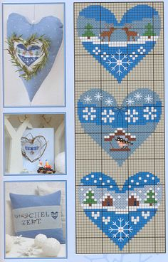 "winter hearts ""idea for mixed media hearts - cross stich, embroidery, patterned fabric"""