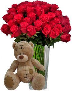 Květinový set 4 - ruze, plyšák
