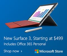 Microsoft Store: New Surface 3 available today!