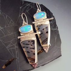 Montana Agate & Opal Earrings by danaevansstudio on Etsy