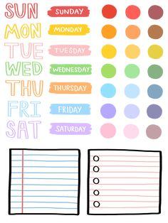 colour sticker, note memo & week days stickers
