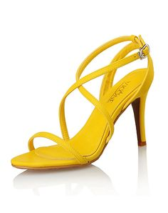 #VIPme Yellow Open Toe Strappy Stiletto Heel Sandals ❤️ Get more outfit ideas and style inspiration from fashion designers at VIPme.com.